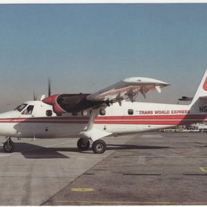 TWA TW Express Airlines Twin Otter Airplane Postcard