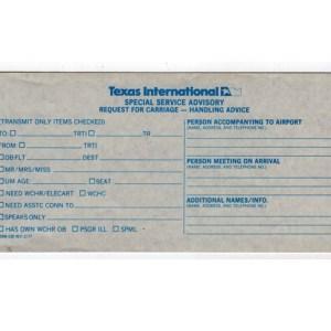 Texas International Special Handling Passenger Ticket