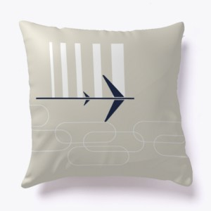 Jet Set Mid-Century Travel Style Pillow