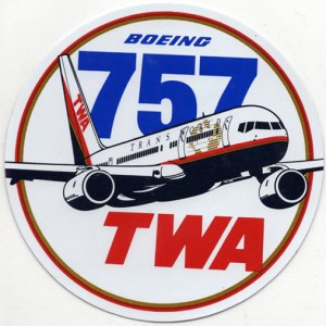 Authentic TWA Boeing 757 Decal Sticker