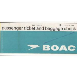 BOAC Airlines Passenger Ticket (Calcutta)