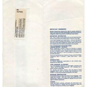 British Caledonian Airlines Boarding Ticket Envelope