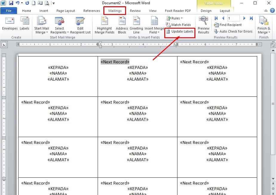 klik menu Mailings