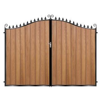 Tall Metal Framed Timber Driveway Gates