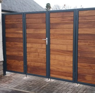 Metal Framed Timber Bi Fold Gates