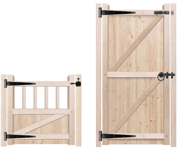 Position of opening latch on wooden gates.