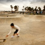 A cloudy day at the skate park in Venice, CA