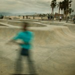 A blurry skater at the skate park in Venice, CA