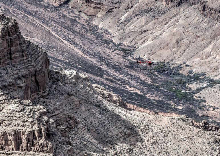 Helicopter inside the Grand Canyon