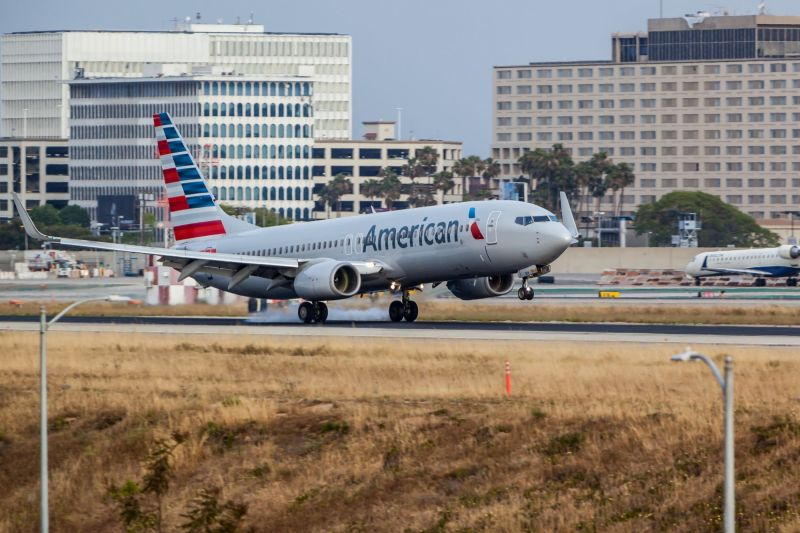 America Airlines landing at LAX