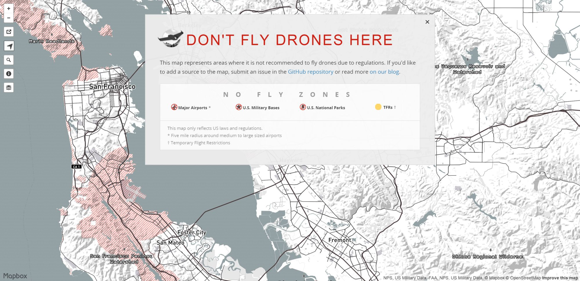 No Fly Zone Map for Drones in the US