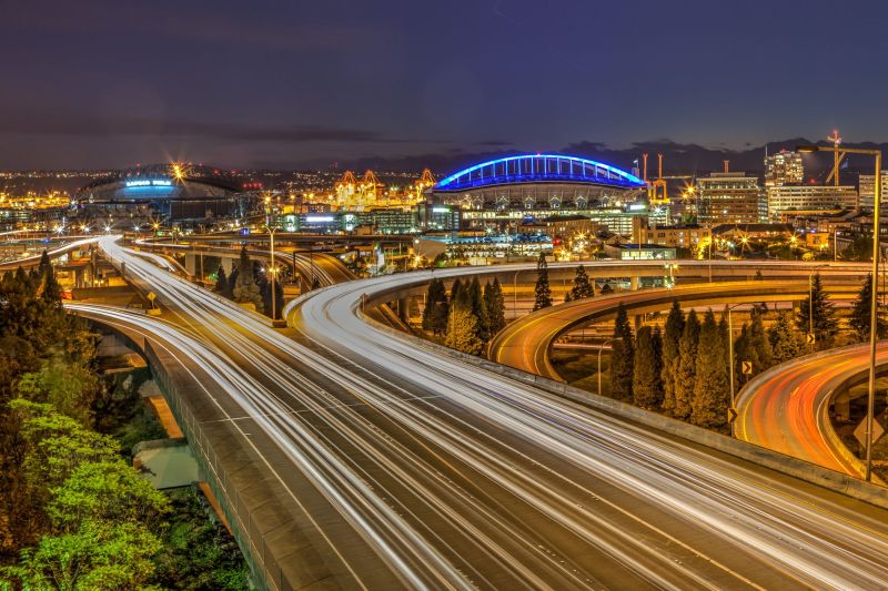 Seattle Stadiums by night from the Doctor Jose P Rizal Bridge