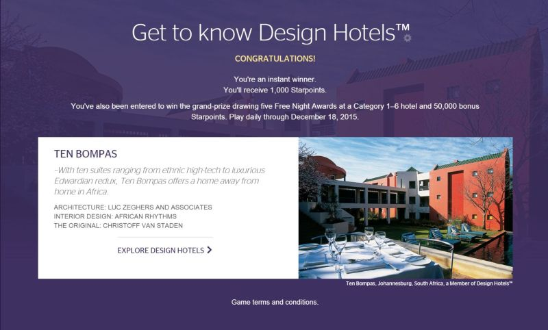 Starwood Design Hotels Sweepstake Instant Win