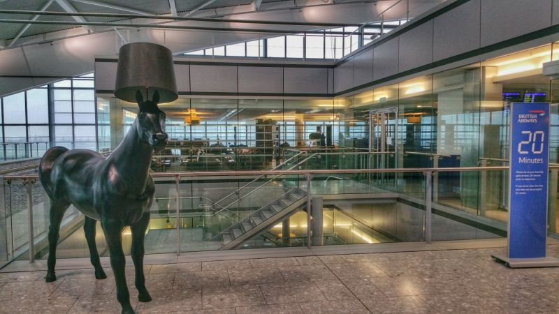 Horse with lamp shade hat at the foyer of the lounge