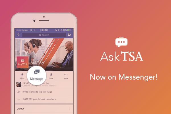 Ask TSA on Twitter and Facebook Messenger