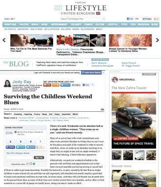 Surviving the childless weekend blues - Jody Day - Huffington Post - 6 April 2012 - www.gateway-women.com