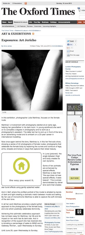 The Oxford Times, Julia Martinez exhibition, June 16, 2013