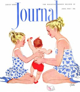 Mother and daughter and baby boy line drawing from cover of Ladies Home Journal, 1948