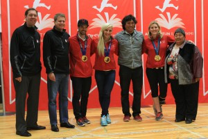 Canadian Olympic gold medalists Hayley Wickenheiser, Kaillie Humphries and Charles Hamelin, as well as Arctic Winter Games medalist Johnny Issaluk, joined TSN sportscaster Gord Miller, Canadian Tire President Michael Medline, and The Honourable Monica Ell, Deputy Premier of Nunavut, to inspire Iqaluit children to be more physically active. (CNW Group/ACTIVE AT SCHOOL)