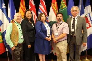 National Aboriginal Leaders (l-r): Clément Chartier (President, Métis National Council), Michèle Audette (President, Native Women's Association of Canada ), Betty Ann Lavallee (National Chief, The Congress of Aboriginal Peoples, Terry Audla (President, Inuit Tapiriit Kanatami), Ghislain Picard (National Chief, Assembly of First Nations)