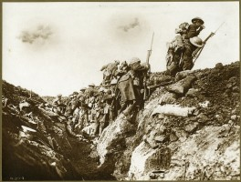 """Canadian soldiers going """"over the top"""" is one of many photos featured in the exhibit"""
