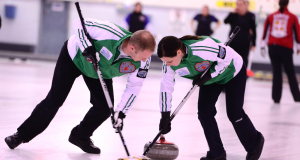 Saskatchewan's Chris and Teejay Haichert in Draw 10 action at the North Bay Granite Club on Thursday morning (Brian Doherty Photography)