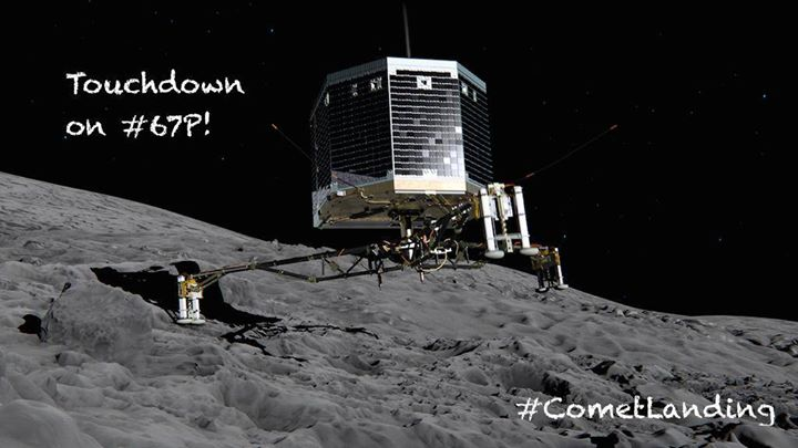 TOUCHDOWN! Rosetta's lander Philae has landed on Comet 67P/Churyumov-Gerasimenko!