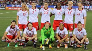 Photo: Women's international Friendly, Canada v USA, 31 January 2014, Frisco, Texas | ©CanadaSoccer / by USSF |Canada Women's National Team Starting XI. Front: Christine Sinclair, Diana Matheson, Erin McLeod, Desiree Scott, Josée Bélanger. Back: Adriana Leon, Rhian Wilkinson, Marie-Eve Nault, Kadeisha Buchanan, Sophie Schmidt, Lauren Sesselmann
