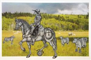 The Western Rider, 2011, by Eveline Kolijn. Screenprint Courtesy of the Artist