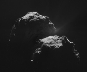The night side of Comet 67P, with a jet of vapor visible. Read more about this image via Andrew R. Brown