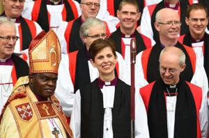 Bishop Libby Lane flanked by Archbishop Sentamu and Archbishop Welby