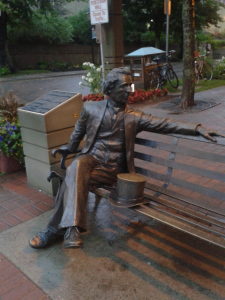 Statue of Sir John A Macdonald in Charlottetown, PEI, the home of Confederation.