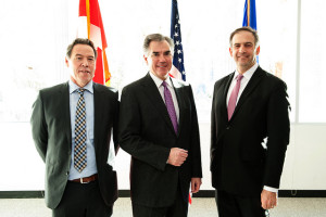 Premier Prentice with Tim Wiwchar, Project Manager, Shell Quest (left) and Julio Friedman, Deputy Assistant Secretary for Clean Coal, Office of Fossil Energy (right)