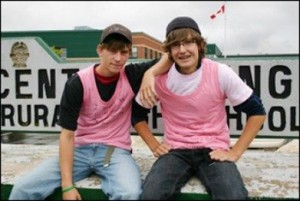 David Shepherd and Travis Price, the Nova Scotia teens that started the pink shirt campaign against bullying.