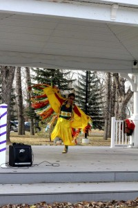 Clarissa Lefthand performs a traditional Fancy Dance