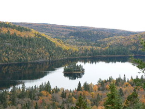 Ile-aux-pins_in_Lake_Wapizagonke_in_La_Mauricie_National_Park_with_original_colour