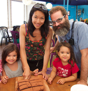 Gerald Gosselin with his wife Yoko Masuda and their children Mio and Hana in Cirque du Soleil's travelling kitchen facility. (Photo courtesy Gerald Gosselin)