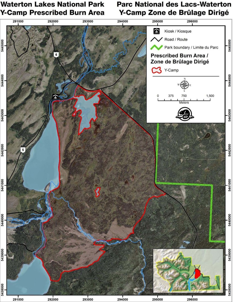 map of prescribed burn area in Waterton