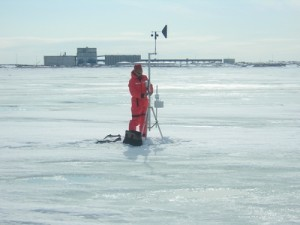 University of Calgary researchers install meteorological equipment on the sea ice near the Port of Churchill, the future home of the Churchill Marine Observatory. Photo courtesy Brent Else