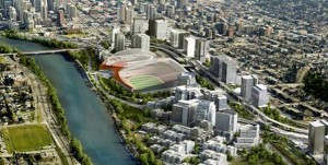 Artist rendering of CalgaryNEXT facilities and future neighbourhood