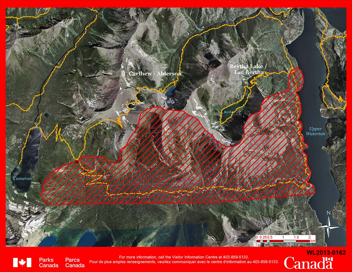 Waterton-Glacier fire map