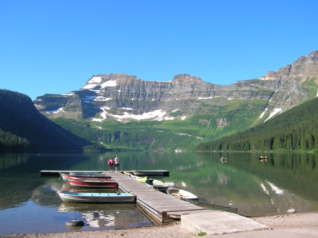 Cameron Lake dock & people