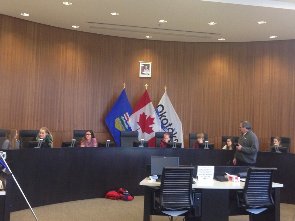 Westmount grade 6 students take over the Town of Okotoks council chambers to learn more about the responsibilities of local government