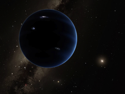 This artistic rendering shows the distant view from postulated Planet 9 back towards the Sun. The planet may be gaseous, similar Saturn, or it may be the remnant core of an old gas giant. Image by Caltech.