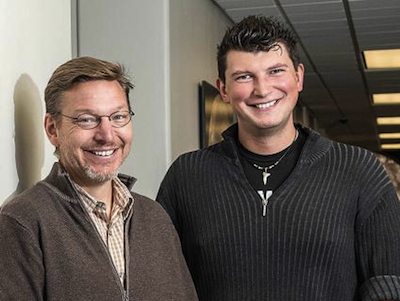 Happy campers: astrophysicists Mike Brown (left) and Konstantin Batygin. Photo by Lance Hayashida / Caltech.