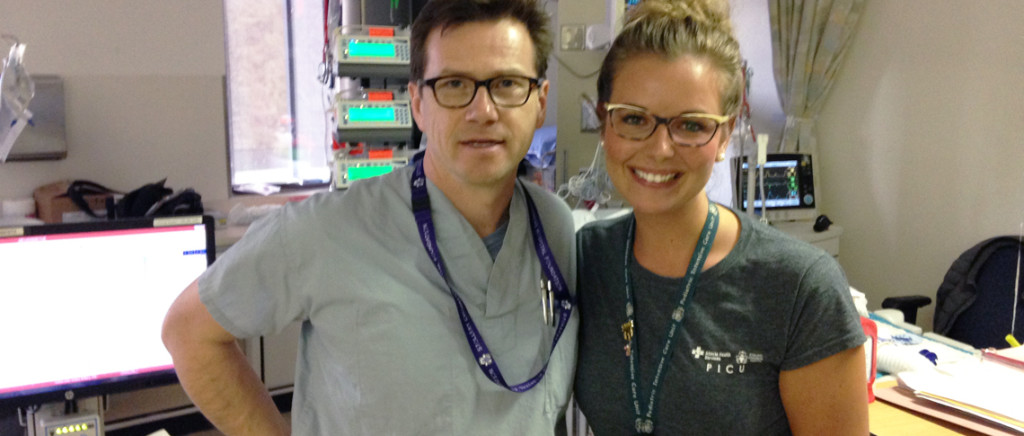 Dr. Laurance Lequier, Medical Director of the Stollery Pediatric Intensive Care Unit shadows registered nurse Brittany Collins for a 12-hour shift as part of a fundraiser and team-building exercise.