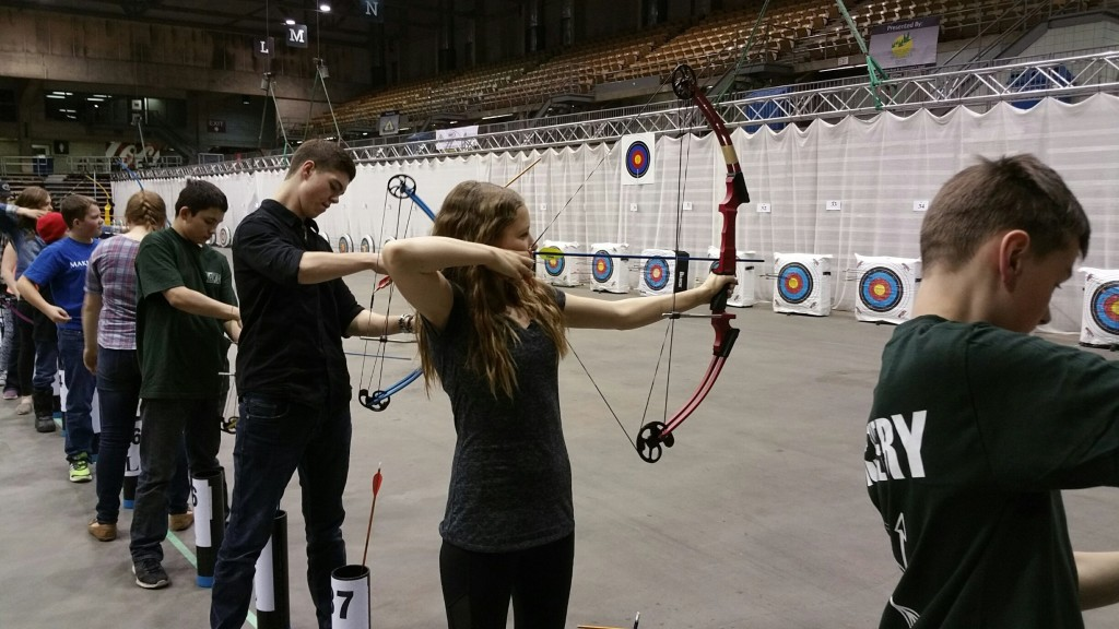 Jocelyn Holladay competing at the Canadian National Archery in Schools (NASP®) National Tournament