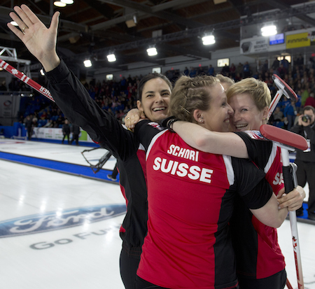 Team Switzerland celebrates its gold-medal triumph on Sunday. (Photo, Curling Canada/Michael Burns)