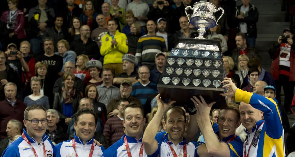 Team Alberta, 2016 Tim Hortons Brier champs, from left, coach John Dunn, alternate Scott Pfeifer, lead Ben Hebert, second Brent Laing, third Marc Kennedy, skip Kevin Koe. (Photo, Curling Canada/Michael Burns)