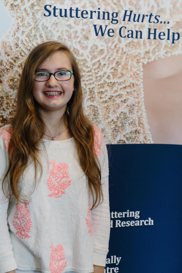 Jaiden Bjarnason, 14, shared her story with the Alberta Elks Foundation today on how ISTAR helped her overcome stuttering. (Photo by: Iconium)